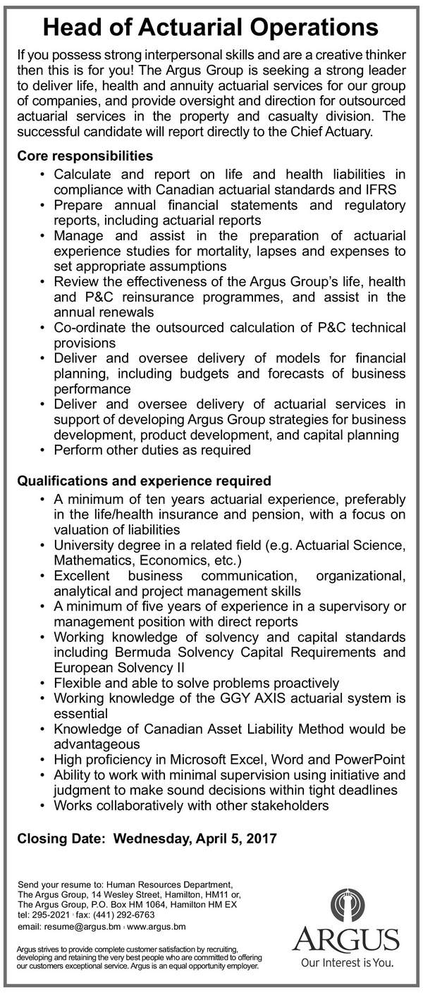 Head of Actuarial Operations
