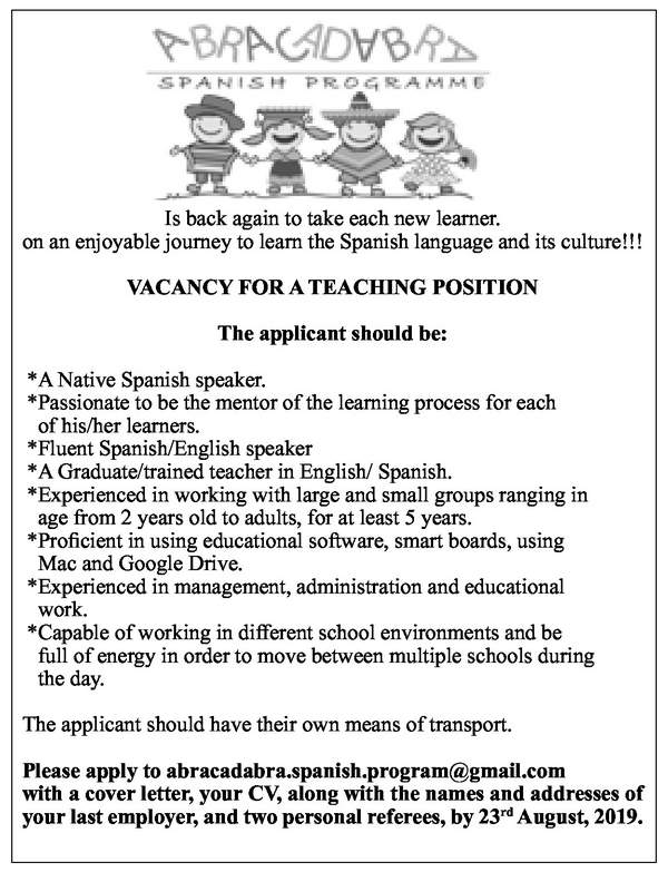 VACANCY FOR A TEACHING POSITION