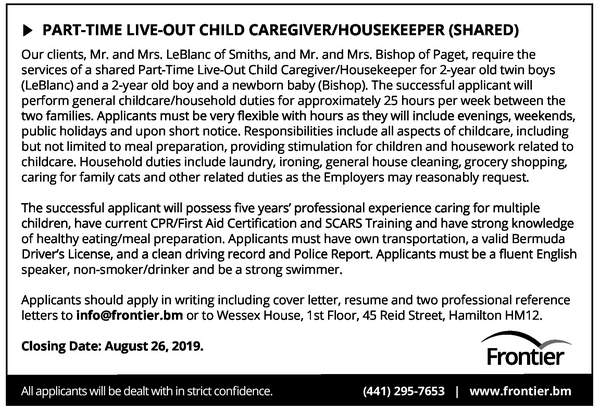 Part-Time Live-Out Child Caregiver/Housekeeper (Shared)