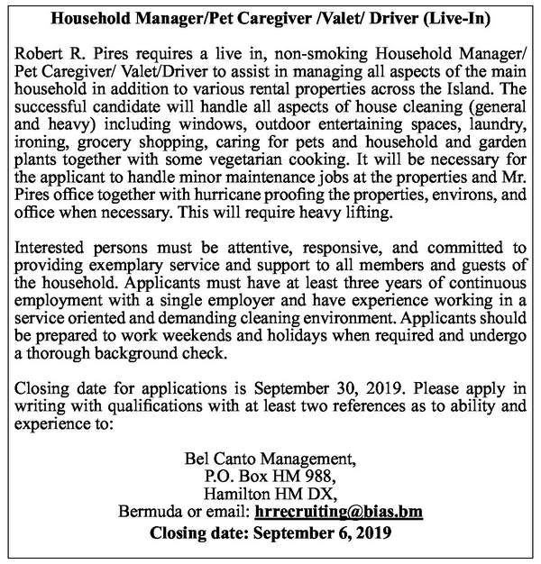 Household Manager/Pet Caregiver /Valet/ Driver (Live-In)