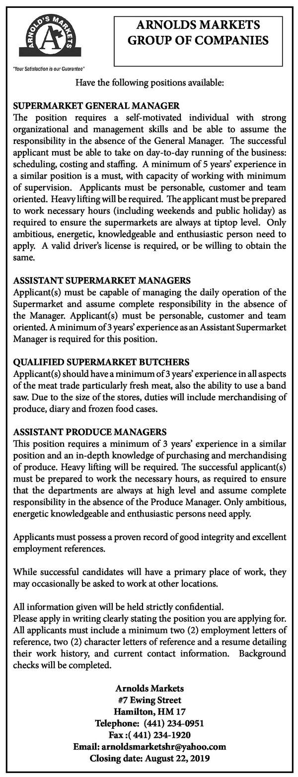 Supermarket General Manager, Assistant Supermarket Manager, Qualified Supermarket Butchers and Assistant Produce Managers