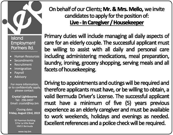 Live - In Caregiver / Housekeeper